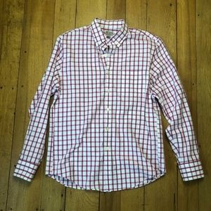 J Crew Pink Plaid Tailored Woven Button Down Shirt